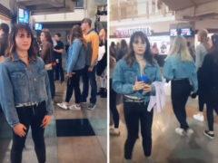 Девушка, пришедшая на концерт, оделась не слишком оригинально