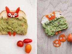 Помещая на бутерброды зверей под одеялами, мама заставляет детей есть здоровую пищу