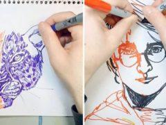 Художник-самоучка рисует одновременно двумя руками