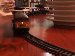 Игрушечный поезд стал важным участником семейного обеда