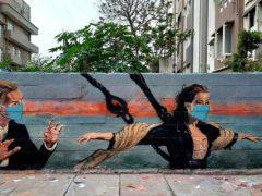 Стена украсилась фреской, по-новому изображающей сцену из культового фильма