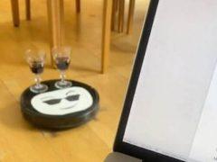 Робот-пылесос стал официантом и отвлекает хозяйку от работы