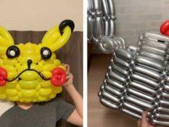 Скручивая воздушные шарики, умелец делает разные предметы