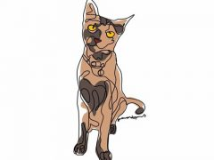 Художник рисует собак и кошек с помощью одной непрерывной линии