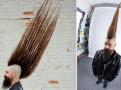 Длинноволосый мужчина стал рекордсменом благодаря необычной причёске