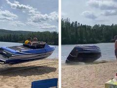 Приятели не только поплавали на катере, но и полетали на нём