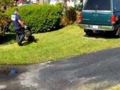 Дедушка не смог подстричь траву на газоне, но получил помощь от пожарных