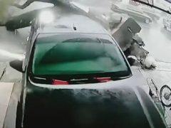 Дерево не выдержало противостояния с тайфуном и повалилось на машину