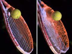 Видеоролик с теннисной ракеткой, покрытой порошком, получился завораживающим