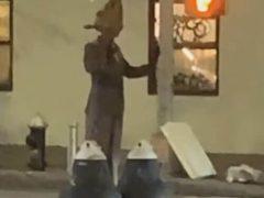 Чудак прогулялся по улице в странном костюме крысы