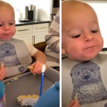 Задувание свечи на торте показалось малышу слишком тяжким испытанием