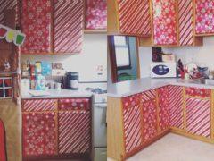 Чтобы создать праздничное настроение, люди украшают шкафы обёрточной бумагой