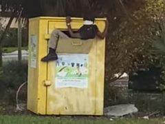 Незнакомец умудрился влезть в ящик с пожертвованной одеждой