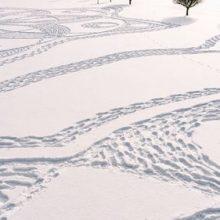 Добровольцы в снегоступах вытоптали на гольф-поле узор