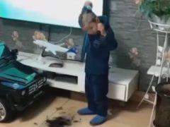 Маленький парикмахер остался не впечатлён собственным искусством