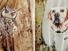 В качестве холста для своих работ художница использует птичьи перья