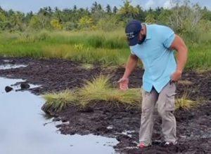 Попытавшись срезать путь, турист искупался в грязной воде
