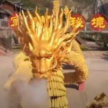 Золотой дракон, сделанный из кукурузы, удивляет любителей необычного искусства